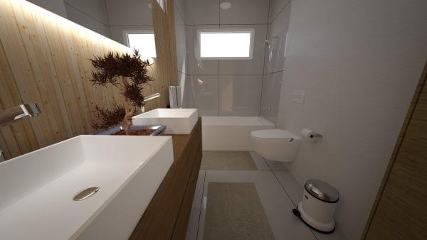Built Prefab Modular Homes Sedona Bath Rendering