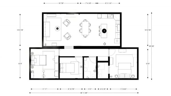 Built Prefab Modular Homes Holiday Floorplan Rendering