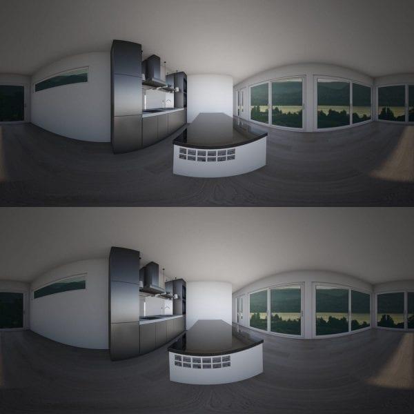 Built Prefab Modular Homes 3D Kitchen Rendering