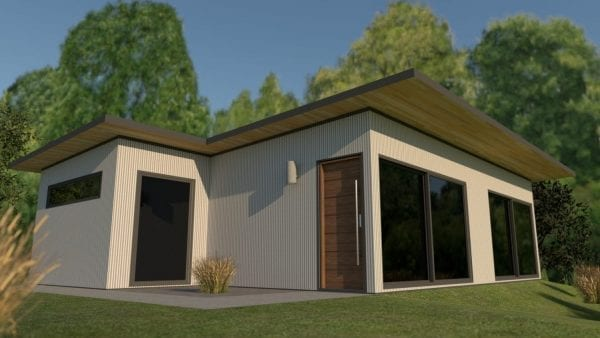 Built Prefab Holiday Modular Home Rendering White