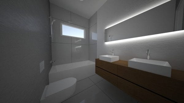 Built Prefab Holiday Modular Bathroom Rendering