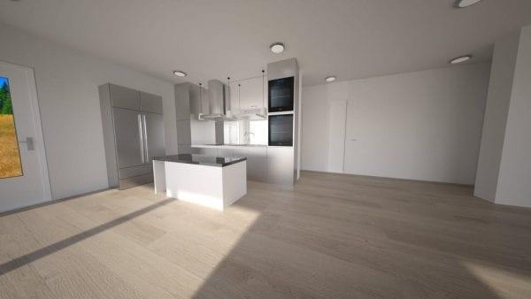 Built Prefab Holiday Modular Home Kitchen Rendering