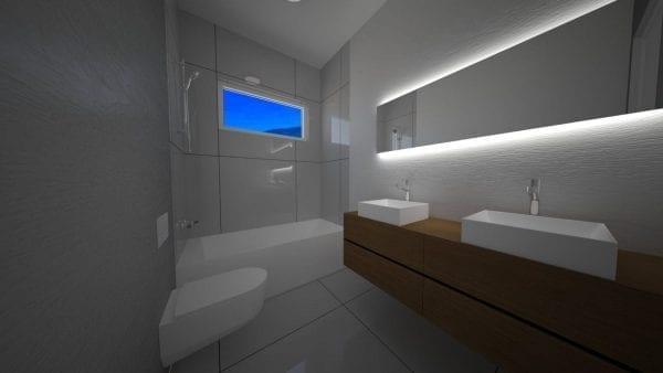 Built Prefab Modular Home Bathroom Rendering