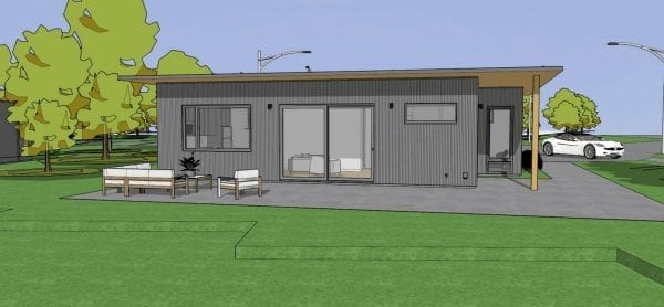 The Spring is a 952 sf prefab modular home featuring two bedrooms and one bath.